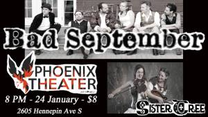 SisterTree with Bad September at Phoenix Theatre, 1.24.15